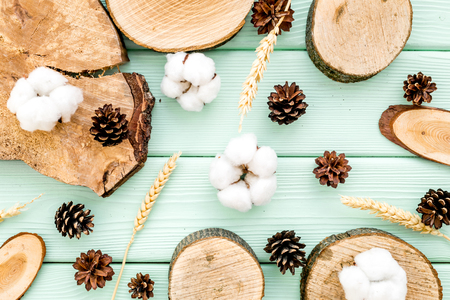 Wooden sawcut, immortelle and pine cone pattern for blog title on mint green wooden background top view