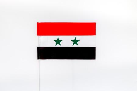 Flag of Syria on white top view.
