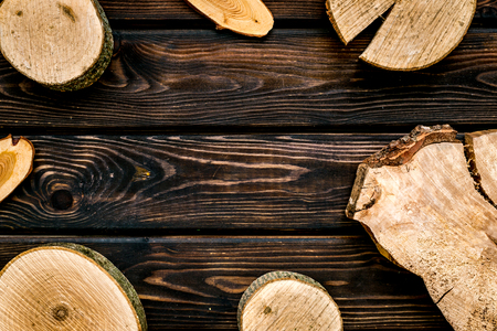 Wooden sawcut  for blog title on wooden  top view mockup Banque d'images
