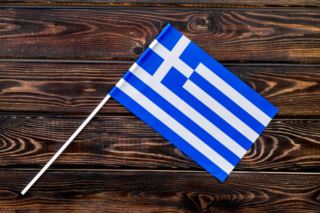 National day of Greece concept with flag on wooden background top view Reklamní fotografie