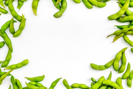 Edamame frame on white background top view mock up