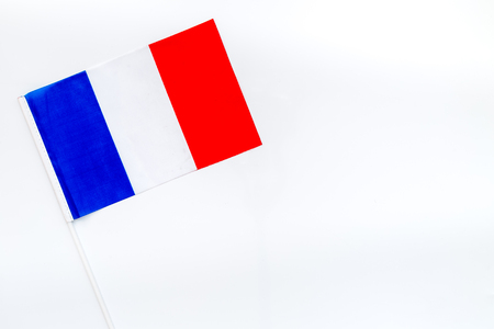 Independence Day of France concept with flag on white background top view.