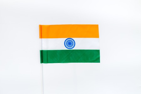 Flag of India on white background top view.