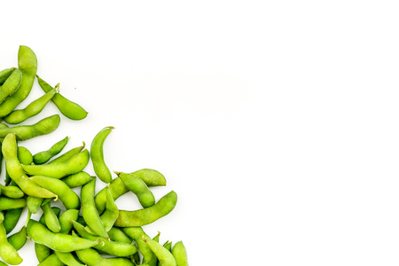 Ingredients. Green soybeans or edamame for fresh healthy organic food on white background top view space for text