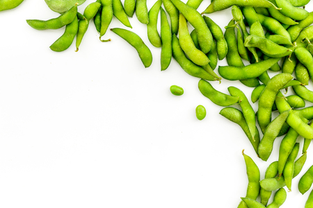 Healthy food. Edamame on white background top view mock up Stock Photo