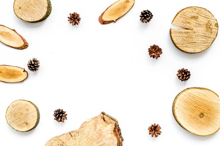 Wooden sawcut and pine cone frame for blog title on white background top view mockup Banco de Imagens