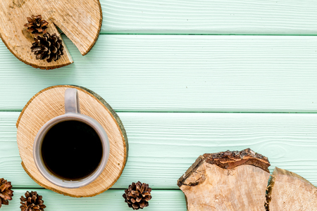 Wooden sawcut. Tree stumps, cup of coffee and cones for presentation background mint green top view copy space Stock Photo
