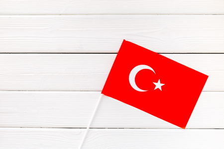 Symbol of the national day of Turkey concept with flag on white wooden background top view Imagens