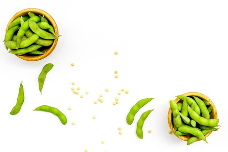 Sport diet food with green soybeans background on white desk top view mockup
