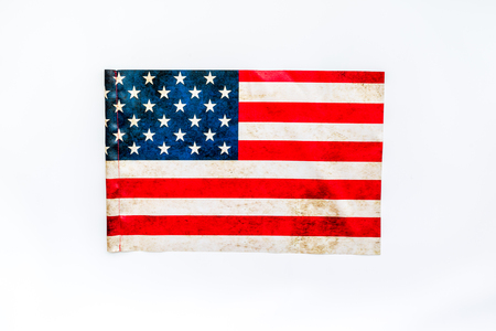 Symbol of Independence and Memorial day of United States of America with flag on white background top view