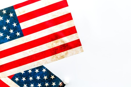 Symbol of Independence and Memorial day of United States of America with flag on white background top view mock up