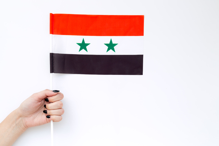 Symbol of the national day of Syria concept with flag in hand on white background top view Banco de Imagens