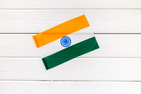 Flag of India on white wooden background top view.