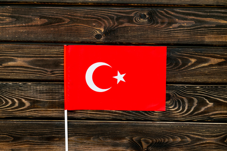 Independence Day of Turkey concept with flag on wooden background top view.