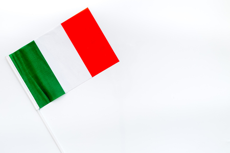 Independence Day of Italy concept with flag on white background top view.