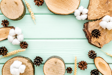 Wooden sawcut. Cup of coffee, wooden stumps, immortelle and pine cones frame for blog background on mint green background top view space for text