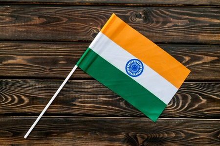 Flag of India on wooden background top view. Stock fotó