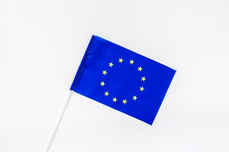 Flag of European Union on white background top view. 스톡 콘텐츠