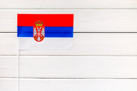 Independence Day of Serbia concept with flag on white wooden background top view. Banco de Imagens