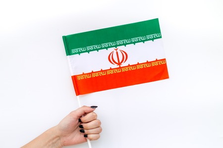 Flag of Iran on white background top view