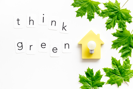 Think green concept with maple leave, house and lamp on white background top view Foto de archivo - 123808112