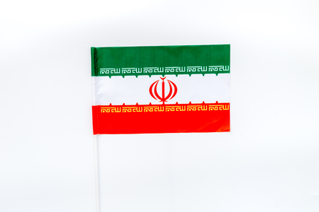 Flag of Iran on white background top view.