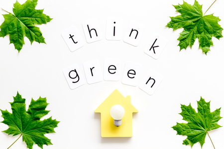 think green concept with maple leave, house and lamp on white background top view Banco de Imagens