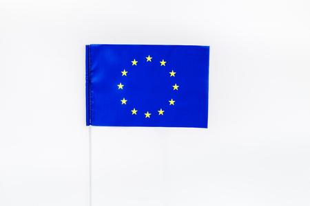 Flag of European Union on white background top view