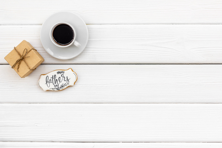 Happy Father Day with gift and coffee on white background top view mockup