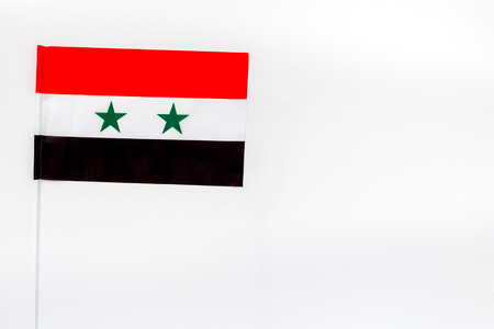 Flag of Syria on white background top view