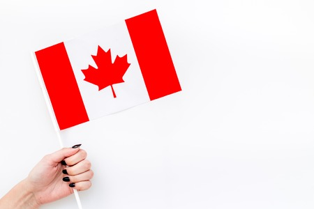 Independence Day of Canada concept with flag in hand on white background top view Reklamní fotografie