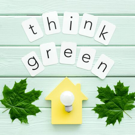 Think green copy with green maple leaves, house figure and lamp for ecology concept on mint green wooden background top view. Foto de archivo - 124673032