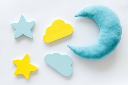 Good dream. Night sleep concept with moon, stars, cloud toy on white background top view