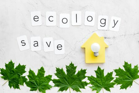 Ecology save copy with green maple leaves, house figure and lamp for eco concept on marble background top view. 写真素材