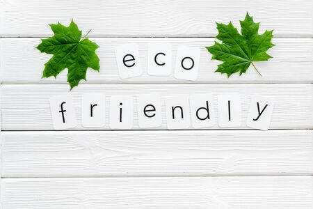Eco friendly copy with green maple leaves for ecology concept on white wooden background top view. 写真素材