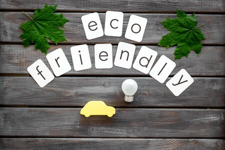 Eco friendly copy with green maple leaves, car figure and lamp for ecology concept on wooden background top view. 写真素材