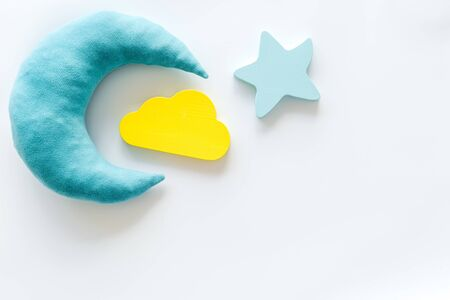 Good dream. Night sleep concept with moon, stars, cloud toy on white background top view mockup Imagens