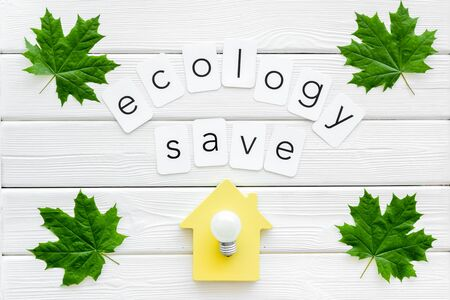 Ecology save copy with green maple leaves, house figure and lamp for eco concept on white wooden background top view. Foto de archivo - 125018711