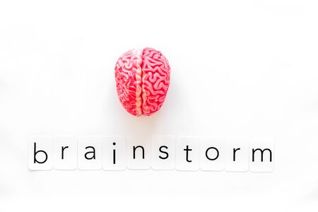 Brainstorm concept with brain on white background top view
