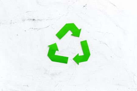 Recycling symbol for eco concept on white background top view. 版權商用圖片