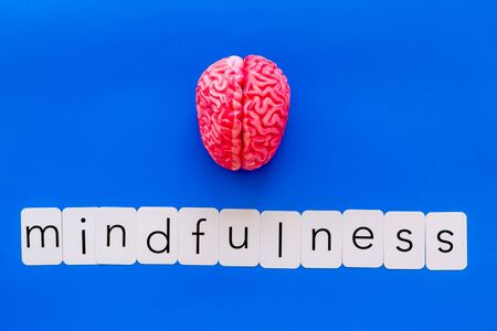 Mindfulness and meditation concept with brain on blue background top view Stock Photo