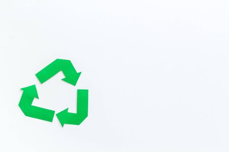 Garbage disposal. Green recycling sign for eco concept on white background top view mockup 版權商用圖片