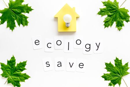 Ecology save copy with green maple leaves, house figure and lamp for eco concept on white background top view. Foto de archivo - 126016184
