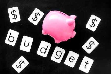Business and budget concept with piggy bank and dollar sign on black office background top view
