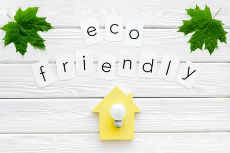 Eco friendly copy with green maple leaves, house figure and lamp for ecology concept on white wooden background top view Foto de archivo - 126145180