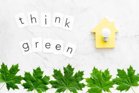 Ecology friendly. Think green text with house toy, lamp, green maple leaves on marble background top view Foto de archivo - 126470780