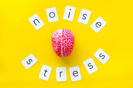 Stress and noise text with brain for psychological health in office concept on yellow background top view.