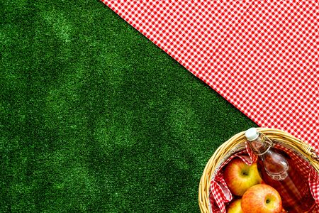 picnic in summer with products, apples, drinks on green grass texture background top view space for text Stock Photo