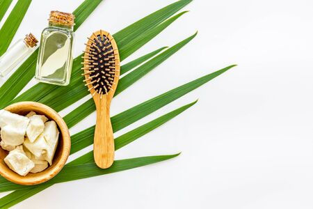 Bottle with jojoba, argan or coconut oil, hair brush for styling on plant on white background top view mock-up Stock Photo