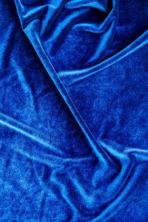 Design for blog with blue fabric texture background top view space for text